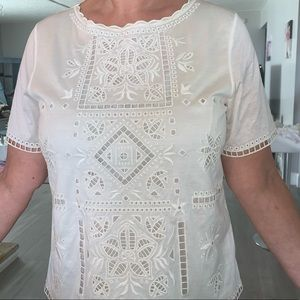 NWT silk/cotton super soft and delicate ivory top